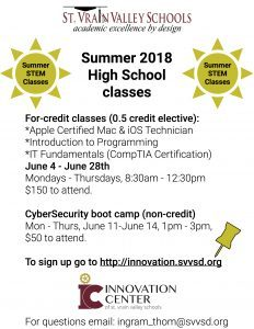 flyer for summer STEM classes