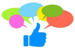 image of thumbs-up and conversation bubbles