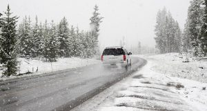 picture of car on a snowy road