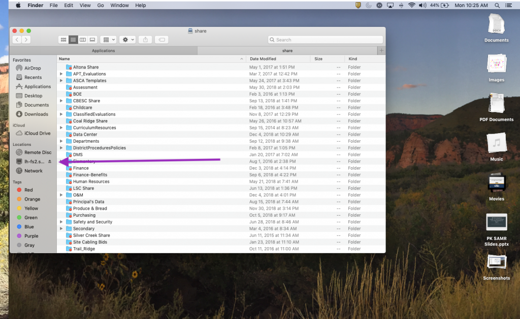 Screen Shot of FInder with Shared drive loaded