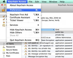 Keychain Access application menu