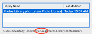 screenshot of file path for photos