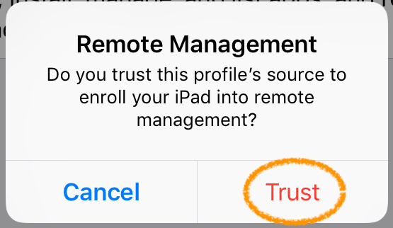 screenshot trust MDM profile source