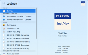 TestNav in Spotlight Search