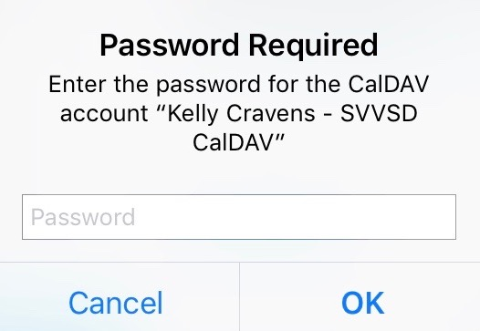 Password popup on Ipad