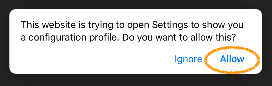 screenshot allow Settings to open