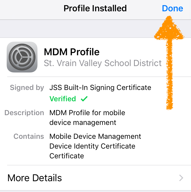 screenshot MDM profile installed