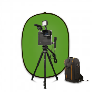 Portable greenscreen behind an iPad on a tripod with microphone and lighting kit attached.