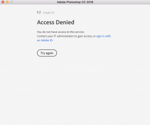 Access denied error for Adobe creative cloud sign on.
