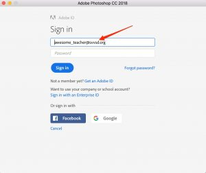 Adobe Creative Cloud sign in page.
