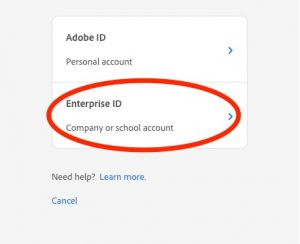 Screenshot of Adobe Enterprise ID Login Option