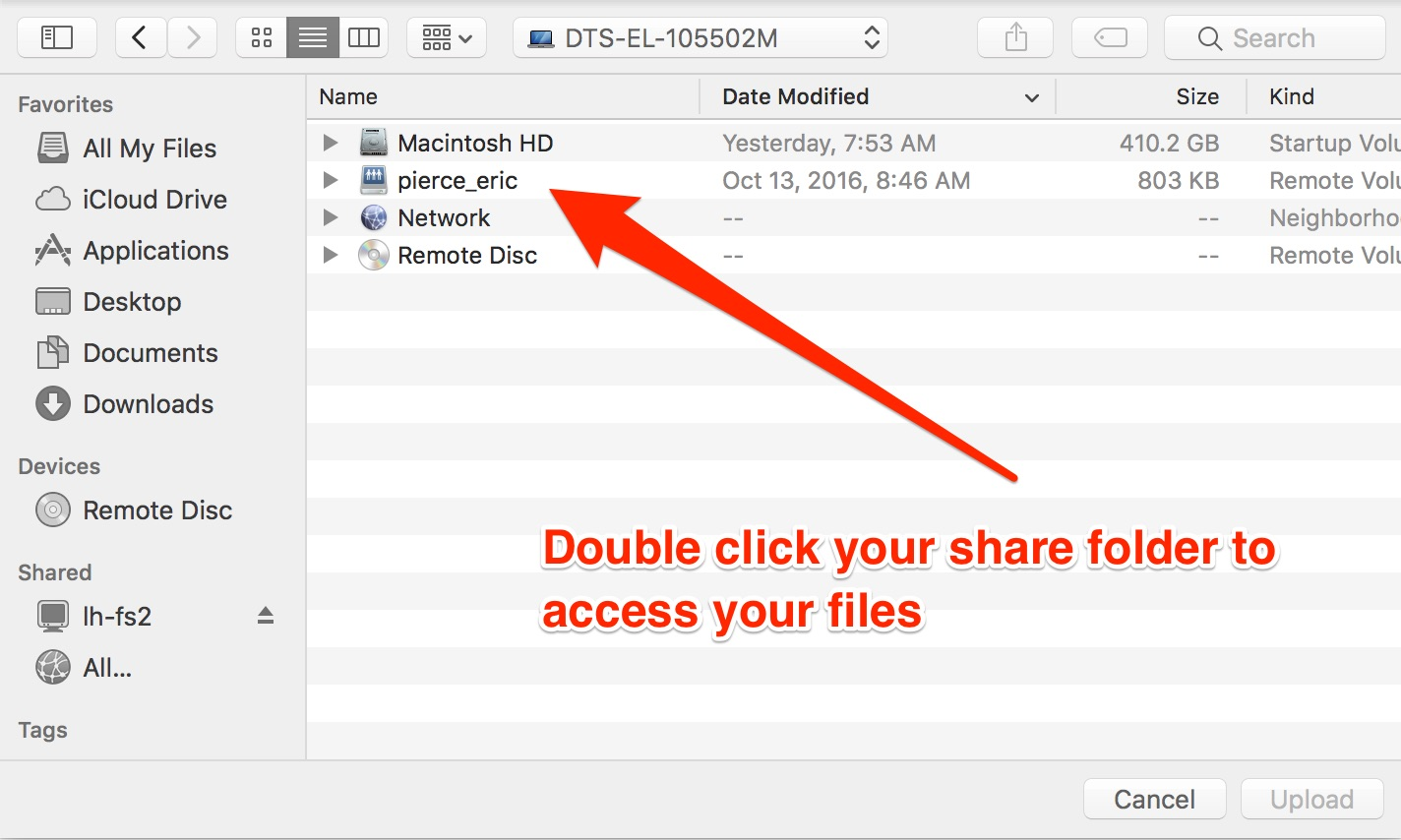 Double click your share to access files
