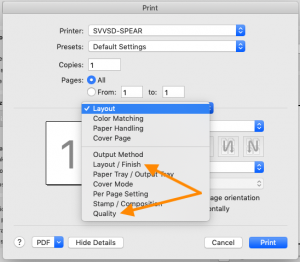 screenshot of print settings