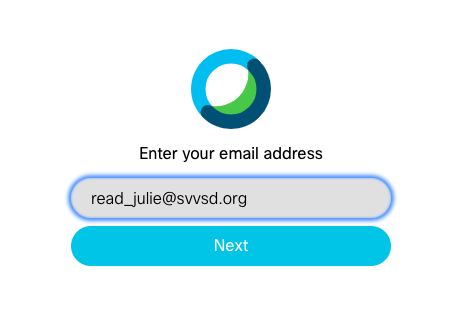 Webex email address login screen