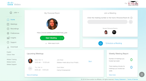 Webex individual home page