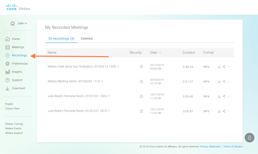Webex recordings screen