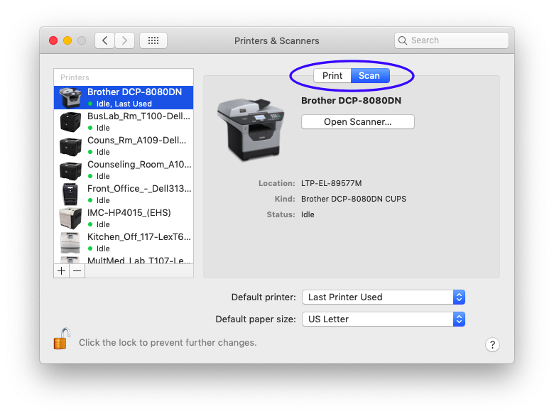 Select Scan for your printer in Printers & Scanners preference pane.