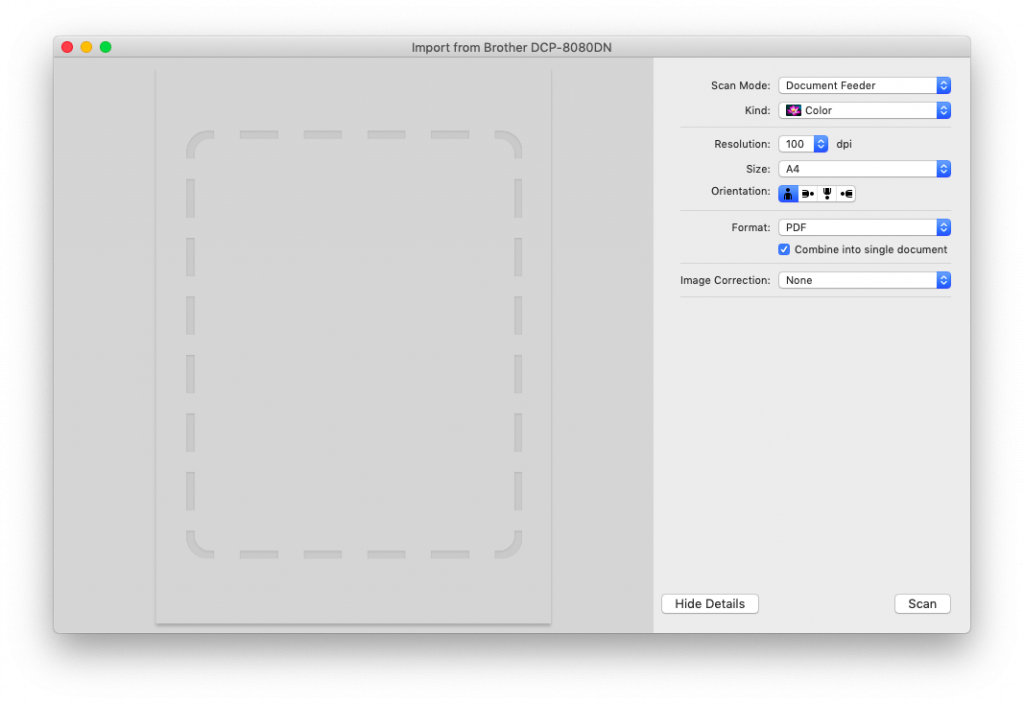 Scan window in Preview.
