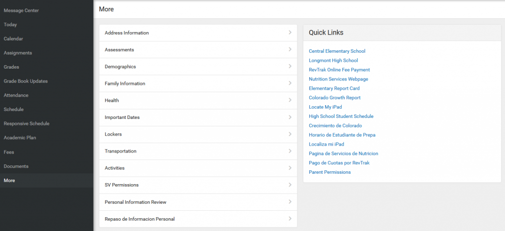 IC parent portal home page more links and permissions