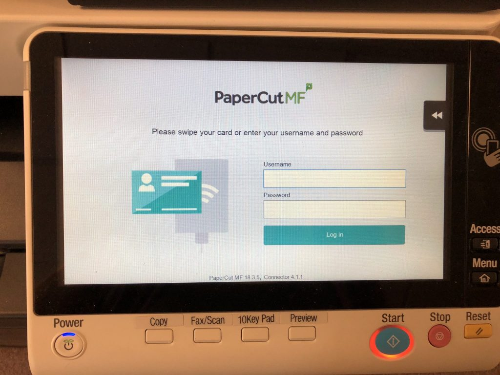 PaperCut login screen