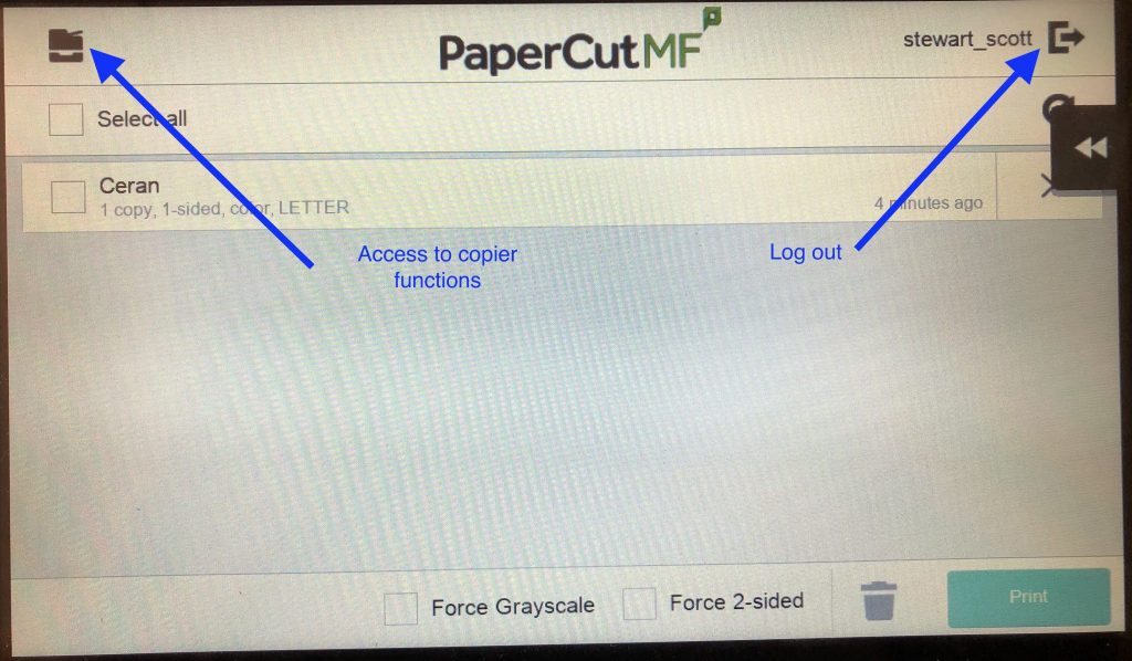 Copier function and logout